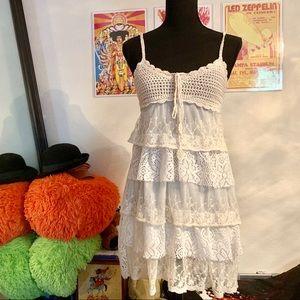 Crochet Laced Mini Dress☁️